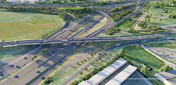 An artist's impression of the new Dohertys Road bridge over the Princes Freeway in Laverton North